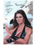 Caroline Munro signed 10 by 8 star of Dracula, Sinbad, Bond #23